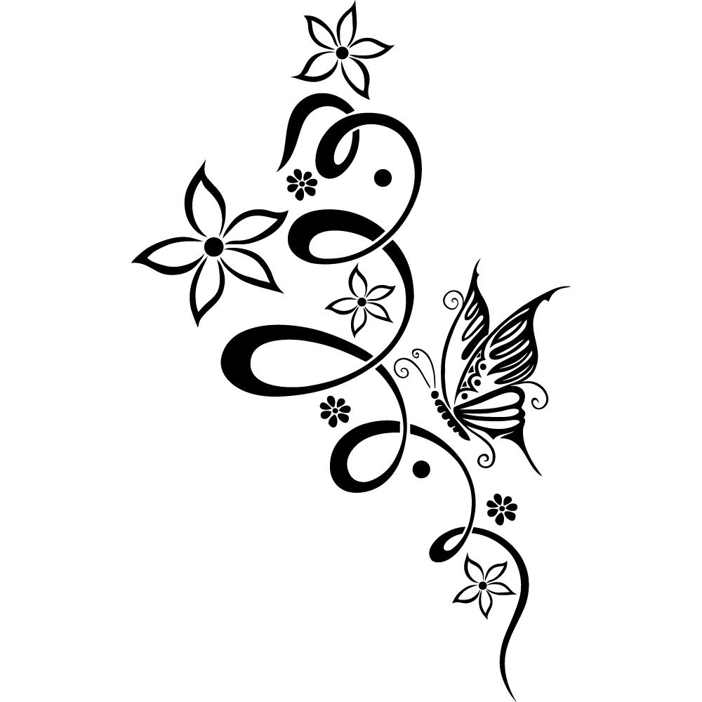 Stickers fleur papillon des prix 50 moins cher qu 39 en - Image papillon et fleur ...