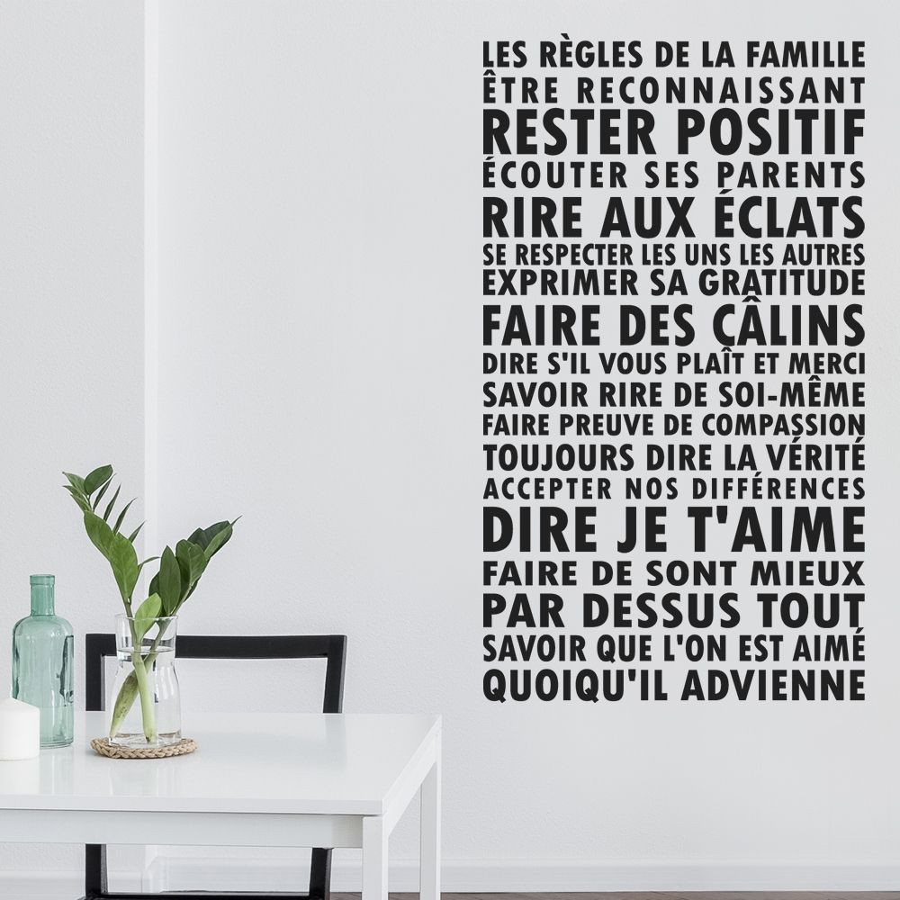 stickers les r gles de la famille des prix 50 moins cher qu 39 en magasin. Black Bedroom Furniture Sets. Home Design Ideas