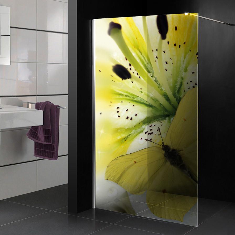 stickers paroi de douche semi translucide fleur papillon des prix 50 moins cher qu 39 en magasin. Black Bedroom Furniture Sets. Home Design Ideas