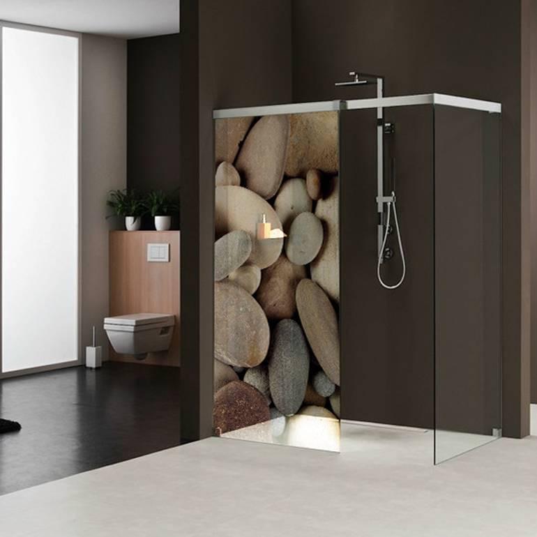 stickers paroi de douche semi translucide galets 2 des. Black Bedroom Furniture Sets. Home Design Ideas