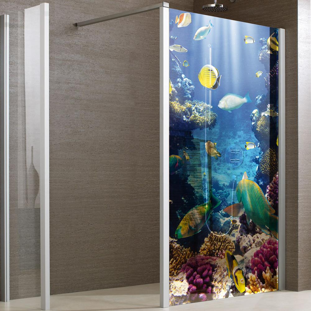 stickers paroi de douche semi translucide poissons des prix 50 moins cher qu 39 en magasin. Black Bedroom Furniture Sets. Home Design Ideas