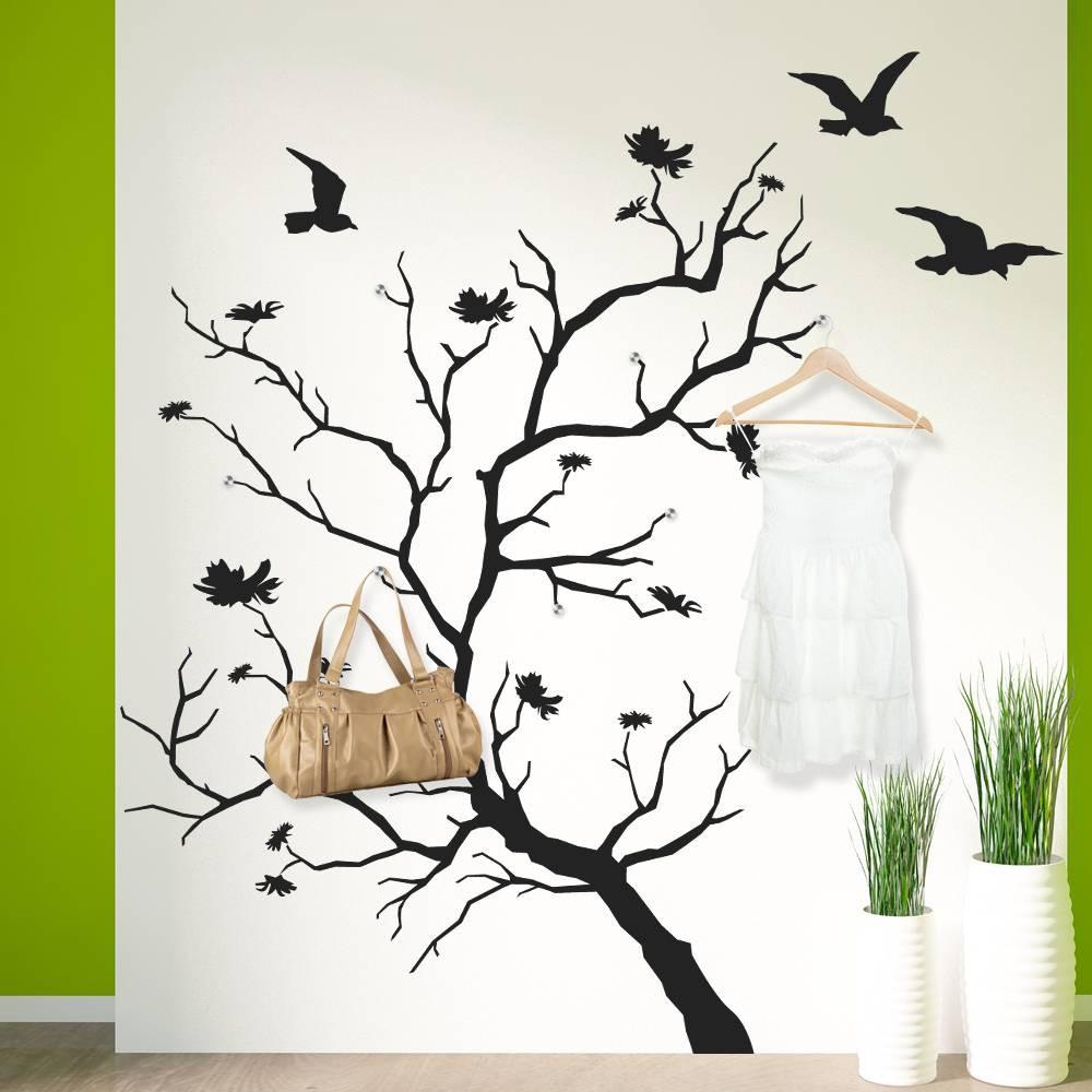 stickers porte manteau arbre oiseaux des prix  moins
