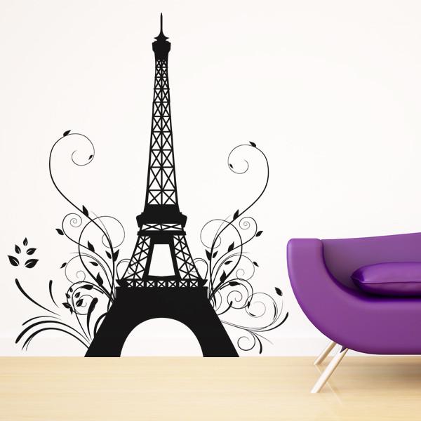 stickers tour eiffel fleur des prix 50 moins cher qu 39 en magasin. Black Bedroom Furniture Sets. Home Design Ideas