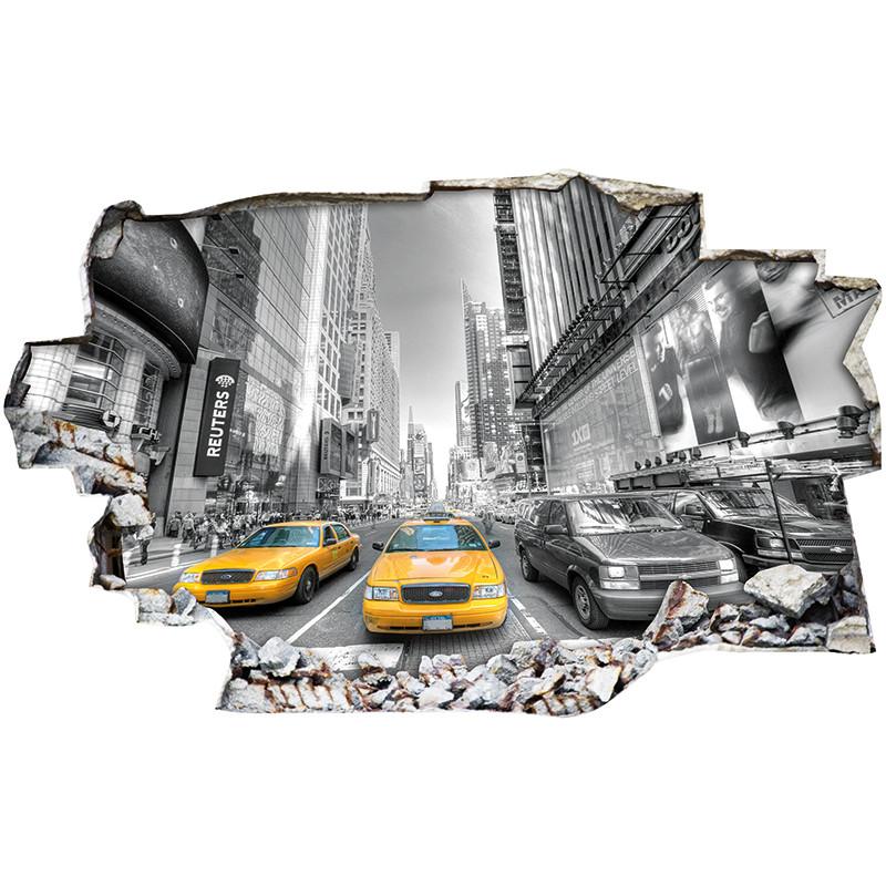 stickers trompe l 39 oeil 3d new york taxi des prix 50 moins cher qu 39 en magasin. Black Bedroom Furniture Sets. Home Design Ideas
