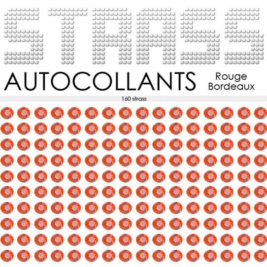 160 Strass Autocollants Rouge Bordeaux
