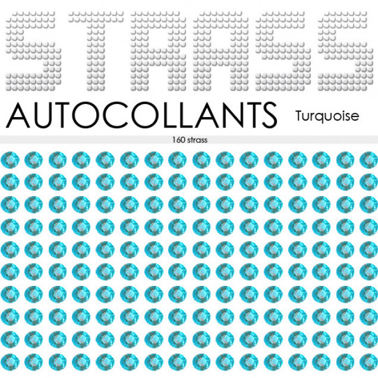 160 Strass Autocollants Turquoise