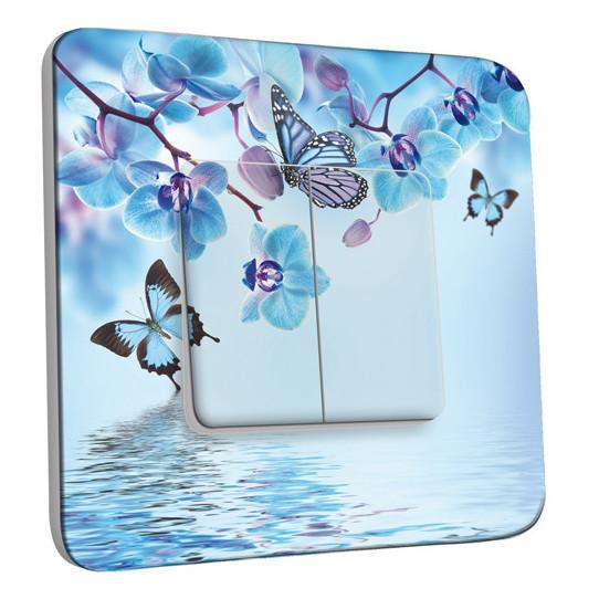 Interrupteur Décoré Double Va et Vient - Orchidée Papillon Bleu