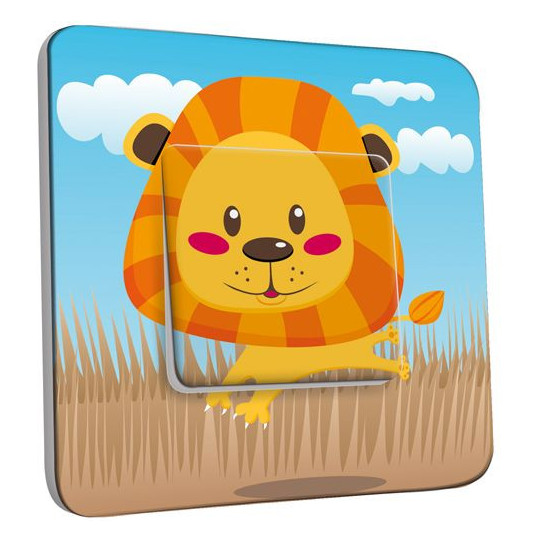 Interrupteur Décoré Poussoir - Lion Enfant