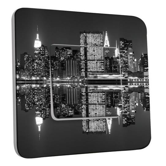 Interrupteur Décoré Poussoir -  New York Manhatan Black&White