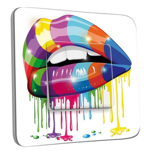 Interrupteur Décoré Simple Va et Vient - Bouche design Multicolorée