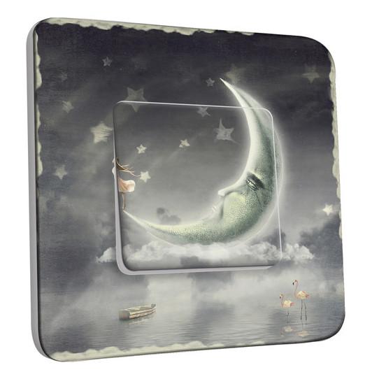 Interrupteur Décoré Simple Va et Vient - Étoiles Lune