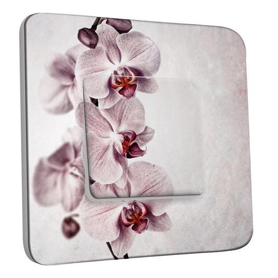 Interrupteur Décoré Simple Va et Vient - Fleur Rose Pâle