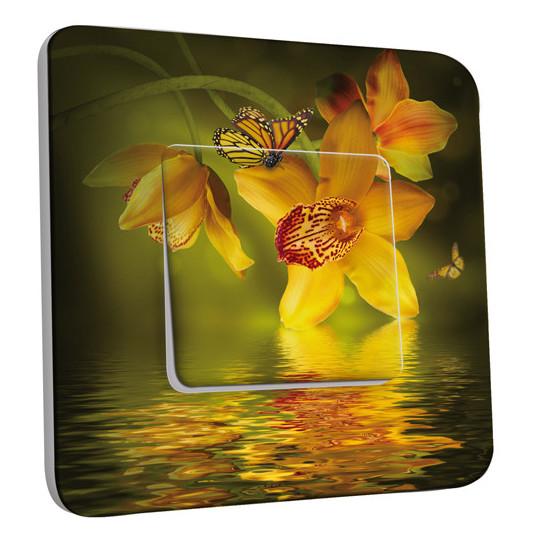 Interrupteur Décoré Simple Va et Vient - Fleurs,Papillons Jaunes 2