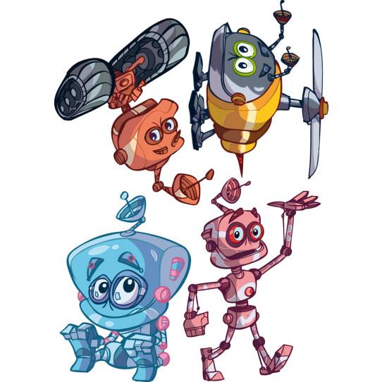 kit 4 stickers robot