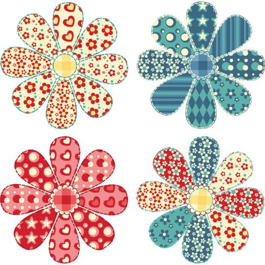 Kit Stickers 4 fleurs