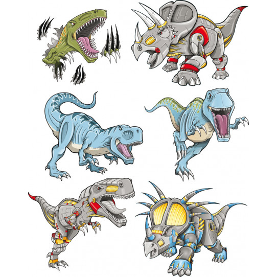 kit stickers 6 dinosaures