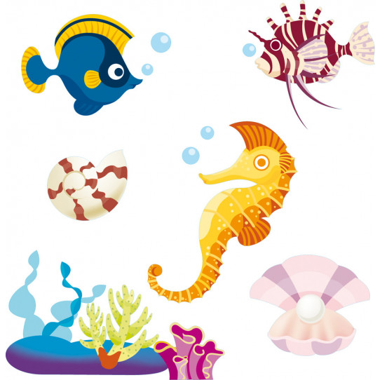 kit Stickers poissons et coquillages