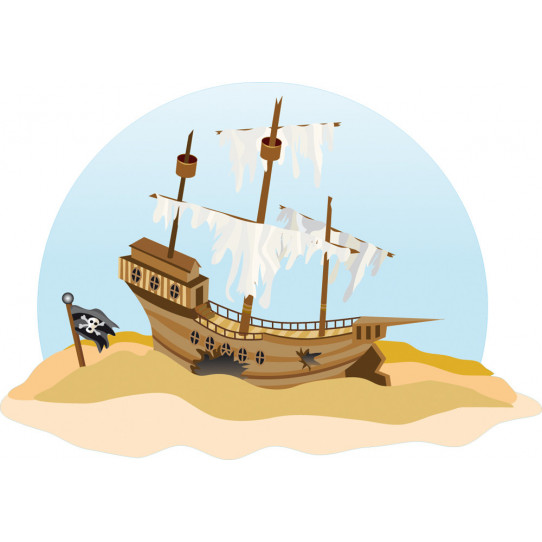 Stickers bateau pirate échoué