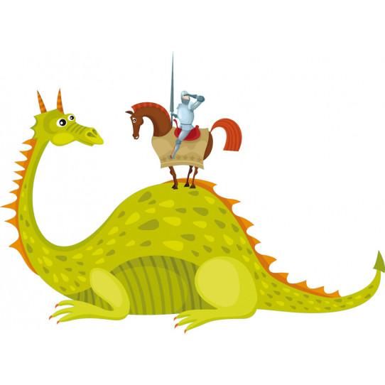 Stickers chevalier et dragon