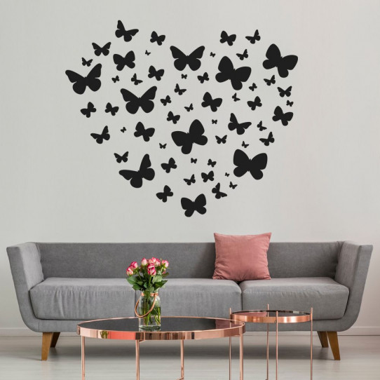 Stickers coeur papillons