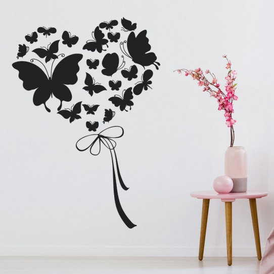 Stickers coeurs papillons