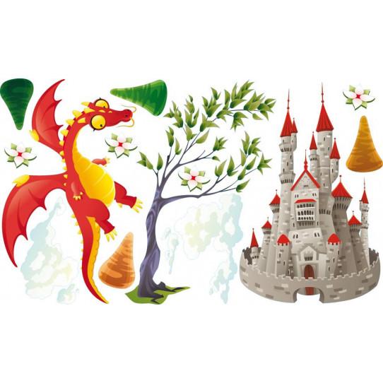 Stickers dragon et chateau