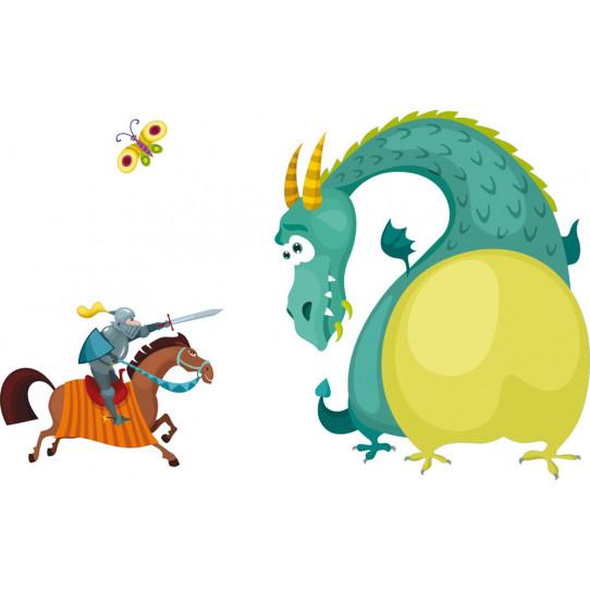 Stickers dragon et chevalier