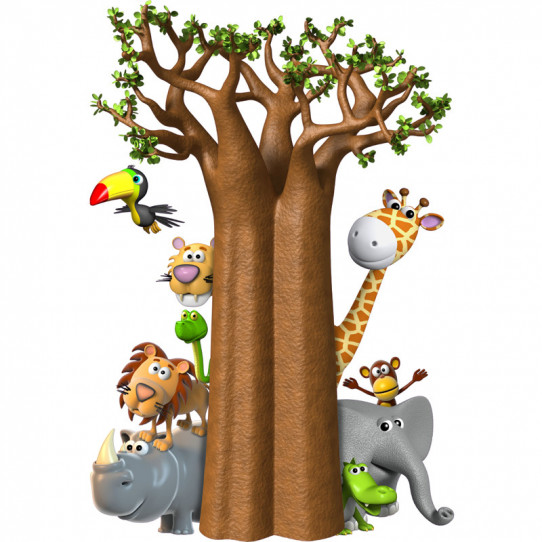 Stickers effet 3D- Baobab Animaux