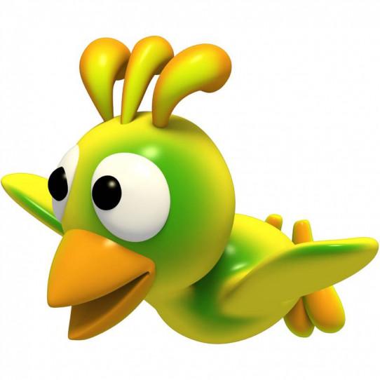 Stickers effet 3D-Oiseau vert 2