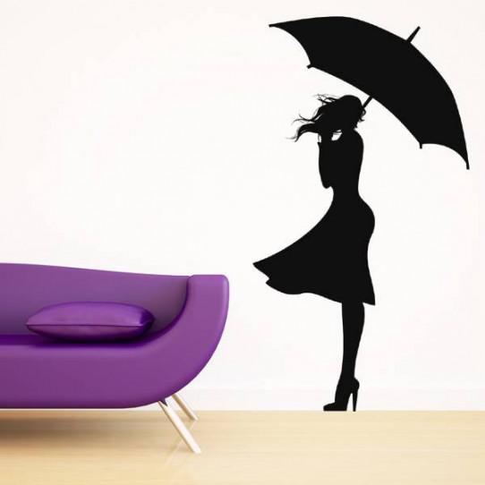 Stickers Femme Parapluie