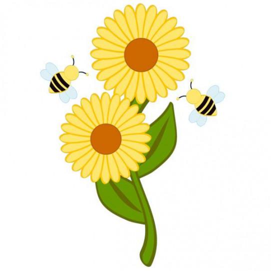 Stickers Fleur Abeilles