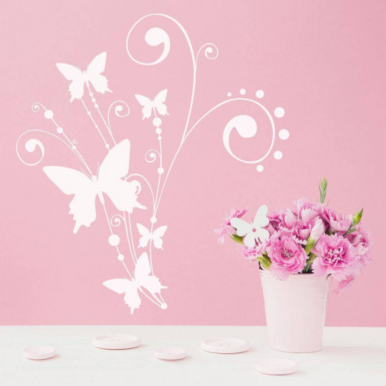 Stickers fleur papillons