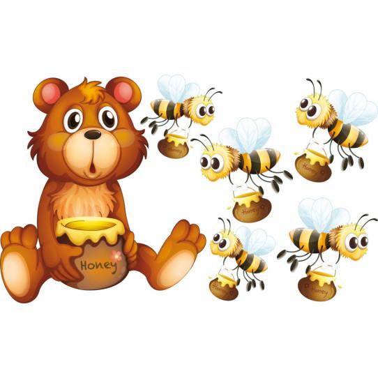 Stickers kit 5 abeilles et ourson
