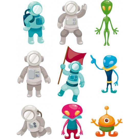 Stickers kit 9 martiens et cosmonautes