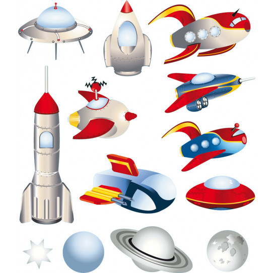 Stickers kit 9 vaisseaux et 3 planètes