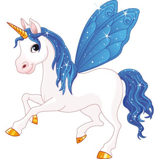 Stickers licorne ailes bleue