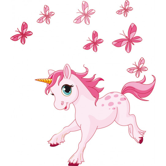 Stickers licorne papillons