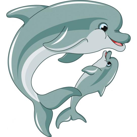 Stickers maman et bébé dauphin