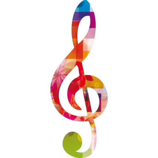 Stickers note de musique multicolore
