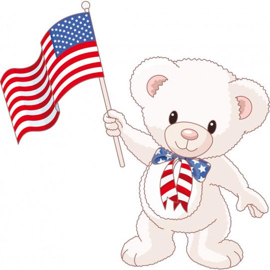 Stickers ourson drapeau USA
