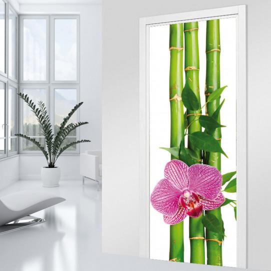 Stickers Porte - Bambous orchidée