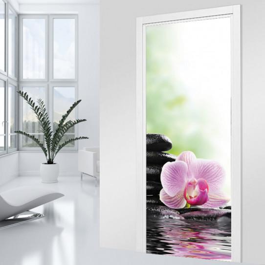 Stickers Porte - Orchidées Zen