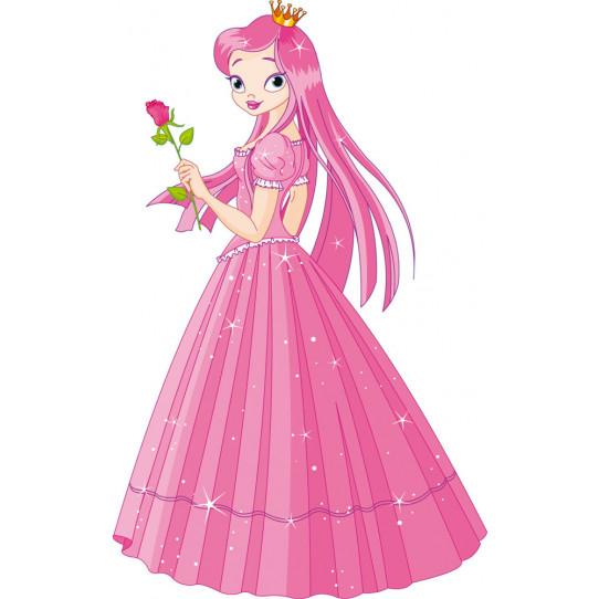 Stickers princesse avec rose