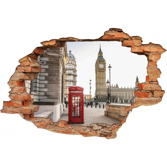Stickers Trompe l'oeil 3D Cabine London