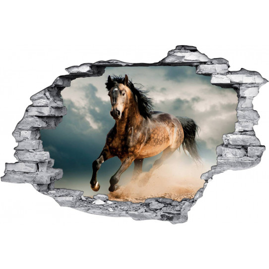Stickers Trompe l'oeil 3D Cheval 2