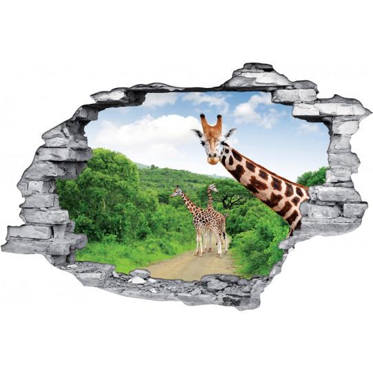 Stickers Trompe l'oeil 3D Girafes 2