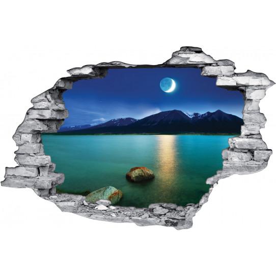 Stickers Trompe l'oeil 3D Lac et Montagnes