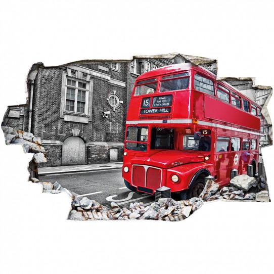Stickers Trompe l'oeil 3D - Londres bus