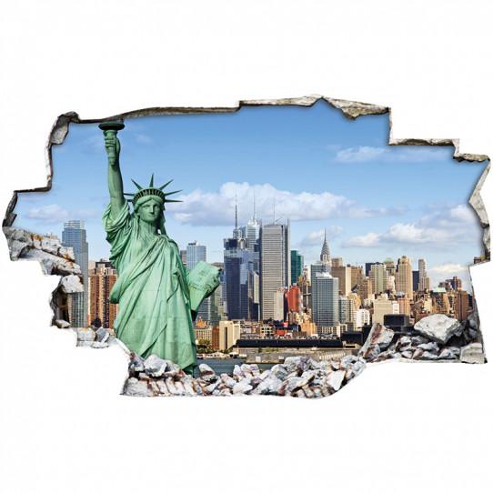 Stickers Trompe l'oeil 3D - New york statue liberté