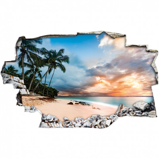 Stickers Trompe l'oeil 3D - Plage palmiers 2